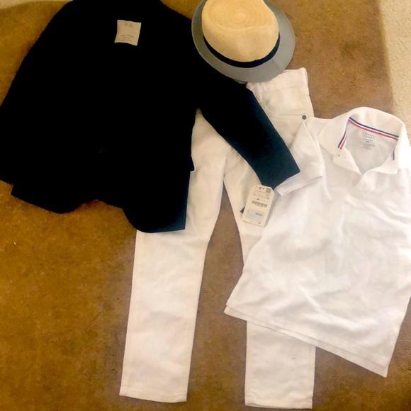 Boy navy Zara Blazer coat and white denim jeans